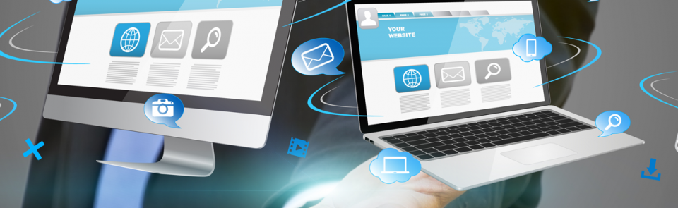 Technology devices banner with multiple technological devices across all platforms