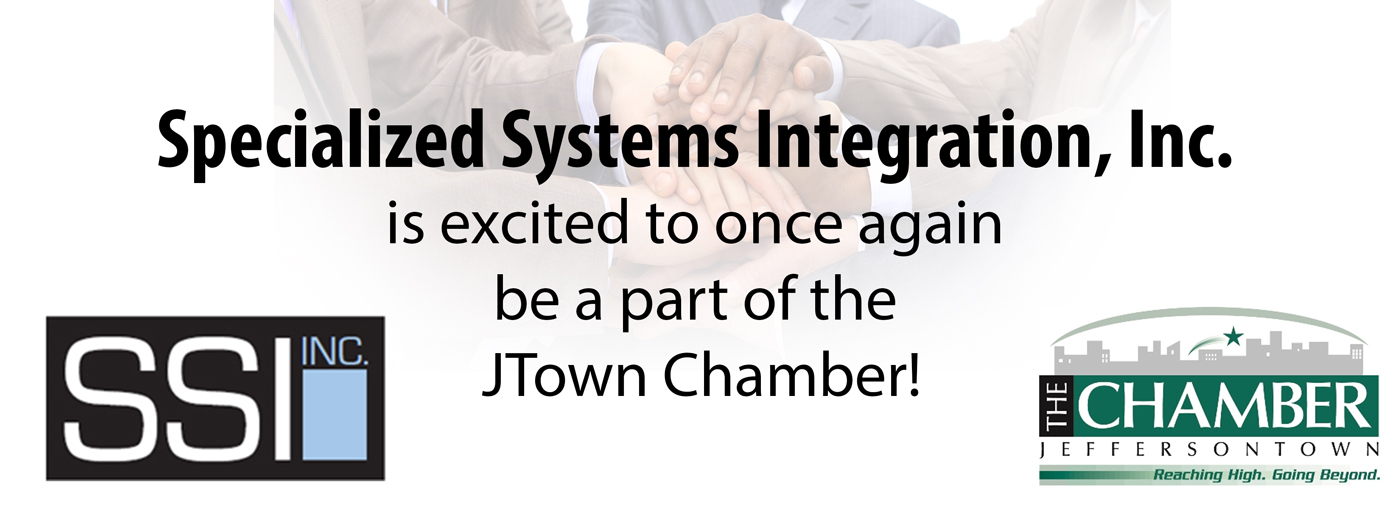announcement stating that specialized systems integration is part of the jtown chamber with several people stacking hands behind the text and offering IT discounts if you are a JTown Chamber Member